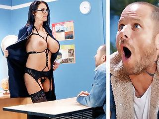Sexy teacher hardcore fucks schoolboy at one's fingertips school