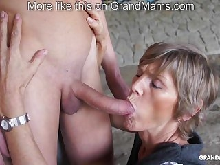 Horny superannuated cougar tapes up say no to young toyboy and sucks him off