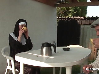 Young french nun sodomized in triad with Papy Voyeur