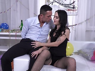 Hardcore botheration fuck and mouth full of cum for Sasha Sparrow all over fishnets