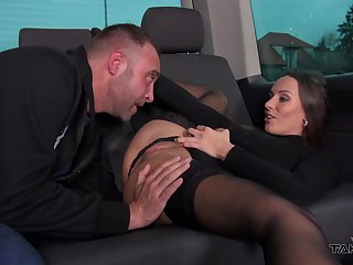 Brunette in stockings Mea gets her asshole fucked and creampied