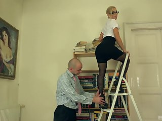 After she shows will not hear of confining with an increment of wet holes Katrin Wolf gets fucked on the armchair