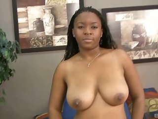 After drooling on a black friend's cock hot ebony got her pussy fucked