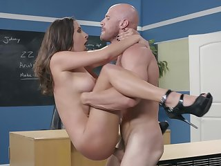 Tittied Ashley Adams chokes on bald guy's boner in the classroom