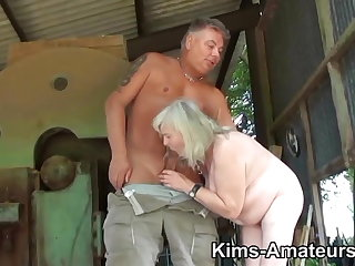 72 year old granny gives a blowjob coupled with gets fucked