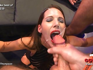 Reproachful whore in lipstick takes lots of hot loads