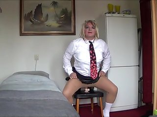 Schoolgirl Angela rides a dildo for Mistress JeZz