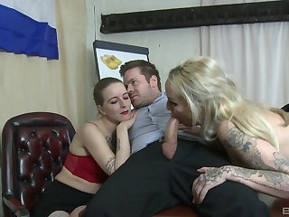Threesome sex almost the office with upskirt copier Louise Lee