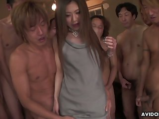Gangbang style video featuring pretty Asian girl Aya Sugiura