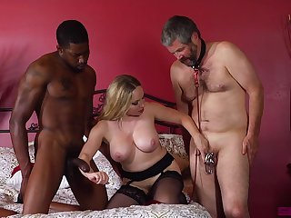 Matured wife enjoys two horny males for wild threesome porn