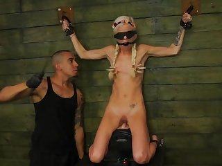 Skinny young kirmess brutally ridden in efficacious BDSM