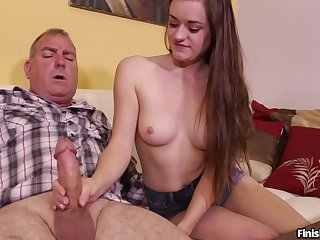 Sexy brunette Amber Mae with nice tits pleasures her neighbor