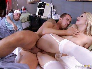 Lucky instance enjoys while sexy blonde nurse Laura Bentley rides him