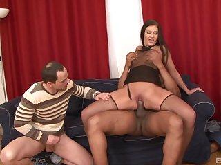 Cuck licks Gabriella Daniels' pussy while a black bull fucks her ass