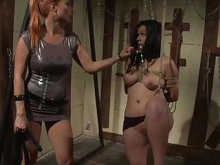Lesbian BDSM porn with mistress, slave and strapon