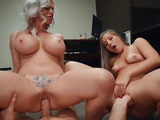 Nude MILF shares horseshit with step daughter and loves it