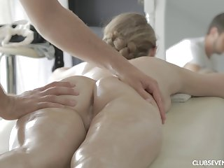 Oiled Raphael from Russia gets massaged added to fucked drool deep