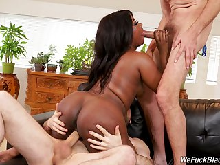 Poverty-stricken ebony handles two big white cocks allied to a pro