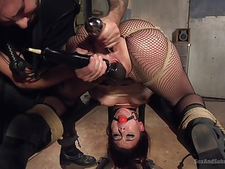 Horny Mandy Build castles in the air enjoys hardcore sex games while she hangs tied