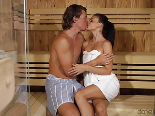 Composed fucking with the sauna with small tits model Kate Rich