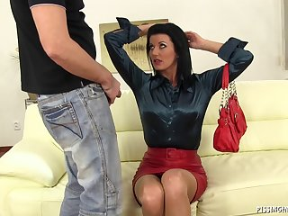 Quickie fucking on rub-down the leather sofa with of age slut Celine Noiret