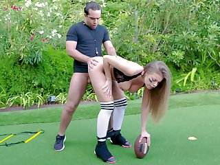 Football fanatic Britney Amber sheds protective gear hither fuck outside