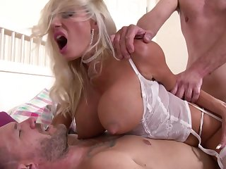 Double Penetration scene with MILF Michelle Thorne