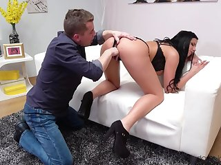 Bitch on high heels, flawless pussy stimulation and sex