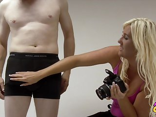 Pale dude with respect to a stiff dick gets pleasured by photographer Donna Mills