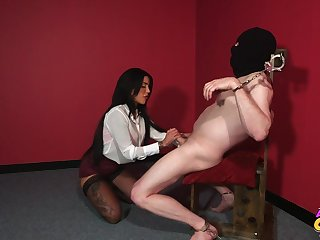 Naughty brunette Alice Judge tied up say no close to male depending close to suck his prick