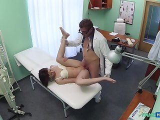 Doc pulls sexual relations toy from tight pussy