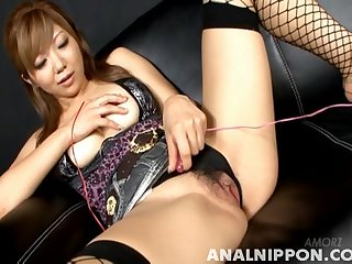 Eccentric Japanese girl Rui Hazuki pleasures her cunt hither a toy